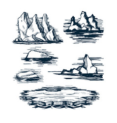 iceberg ice blocks vector image vector image