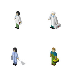 Isometric person set of doctor plumber medic and vector