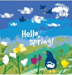 Spring color flowers and birds sign card vector image vector image