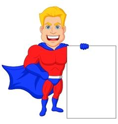 Superhero cartoon with blank sign vector image vector image