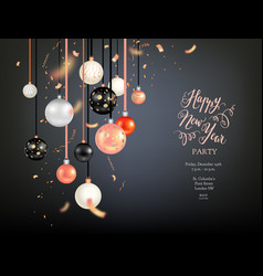 beautiful christmas dark balls vector image vector image