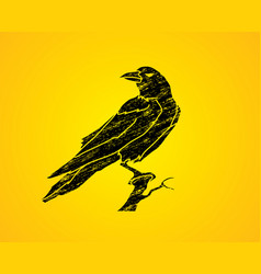 crow on tree graphic vector image vector image