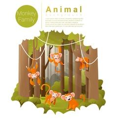 Forest landscape background with Monkeys vector image vector image