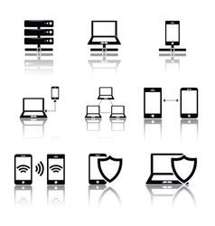 Network connections icons set vector image