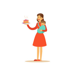super mom character with child holding cake vector image vector image