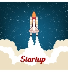 Business startup poster with rocket vector image vector image
