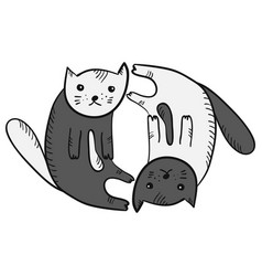 cute funny cartoon yin and yan cats symbol vector image