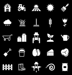 Farming icons on black background vector image vector image