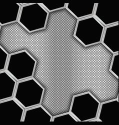 Geometric background with hexagons metal backgroun vector image vector image
