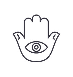 hamsa hand line icon sign on vector image vector image