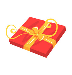 red gift box with yellow bow cartoon vector image vector image