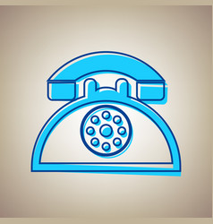 retro telephone sign sky blue icon with vector image vector image