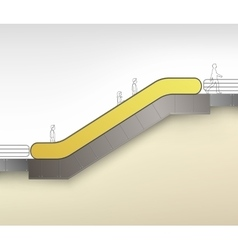 Yellow escalator with place for advertising vector