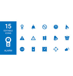15 alarm icons vector