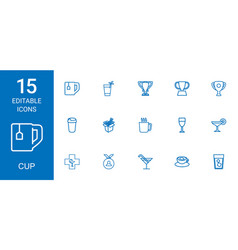15 cup icons vector