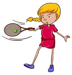 A female tennis player vector