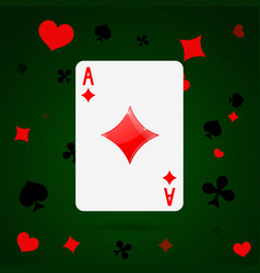 Ace of diamonds playing card vector