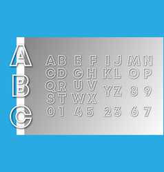 Alphabet font template letters and numbers line vector