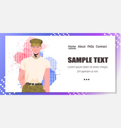 Army girl soldier woman in military uniform happy vector