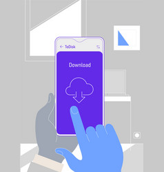 augmented reality cloud office storage mobile app vector image