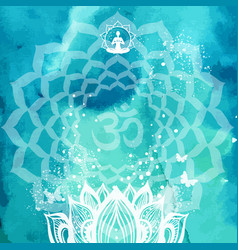 background with lotus and yoga symbol vector image