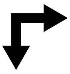 Bifurcation Arrow Right Down Flat Icon vector