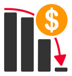 Bitcoin falling acceleration graph flat icon vector