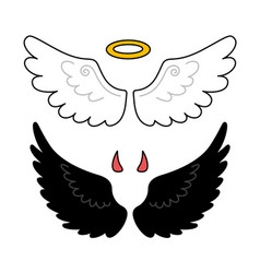 Black and white wings nimbus and horns angel and vector