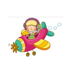 boy pilot airplane vector image