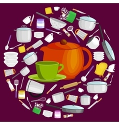 Cartoon kitchen utensil set collection of orange vector image vector image