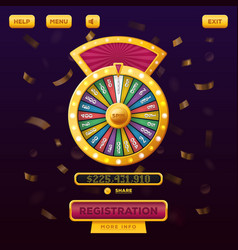 Casino menu web design with wheel of fortune vector