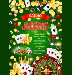 Casino poker jackpot gambling game gold coins win vector