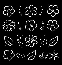 chalk white abstract hand drawn flowers set vector image