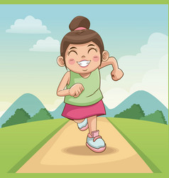 children day happy cute little girl on the road vector image