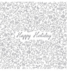 christmas icon seamless pattern happy winter vector image