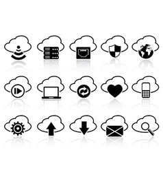 cloud with icons set vector image