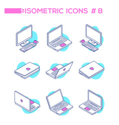 computers - set modern isometric vector image