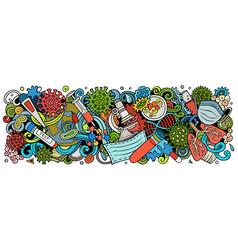 Coronavirus hand drawn cartoon doodles colorful vector