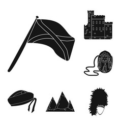 Country scotland black icons in set collection for vector