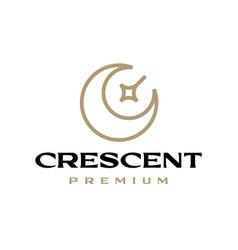 crescent star moon logo icon vector image