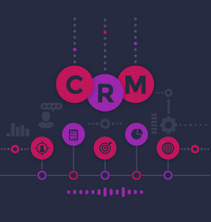 Crm customer relationship management infographics vector
