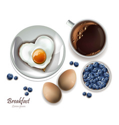 Cup of tea and eggs breakfast realistic vector