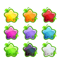 cute cartoon colorful glossy stars set vector image