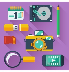 Data storage devices icons vector