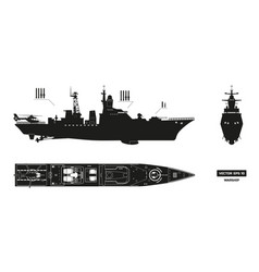 detailed silhouette of military ship vector image