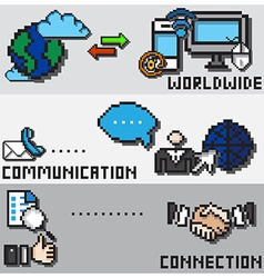 Digital Pixel Communication Design Concept vector