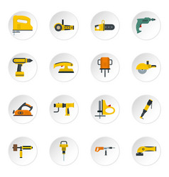 electric tools icons set in flat style vector image