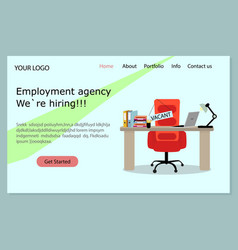 Employment agency landing page we hiring vector