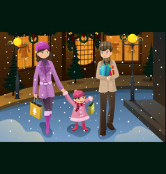 Family doing christmas shopping vector
