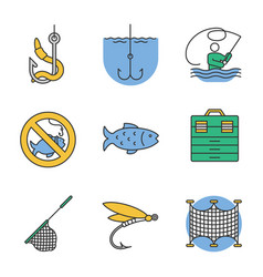 fishing color icons set vector image
